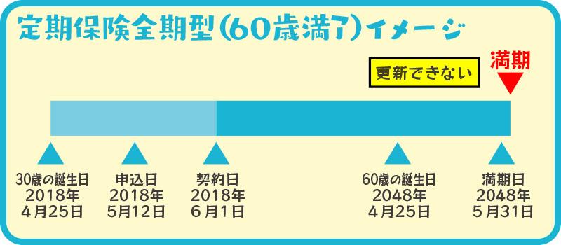 60歳満了定期保険満期イメージ図